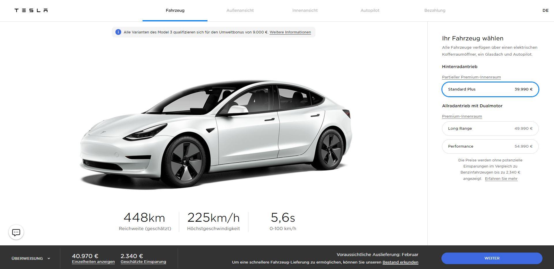 Tesla Model 3 SR+ (2021er Facelift) + 1.500 SuperCharger-KM durch KWK + Preissenkungen auf LR und Performance
