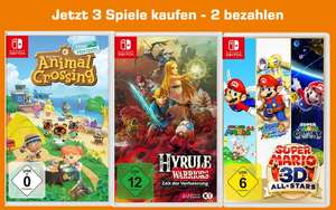 3-für-2 auf ausgewählte Switch-Spiele: z.B. Animal Crossing: New Horizons + Hyrule Warriors: Zeit der Verheerung + Super Mario 3D All-Stars