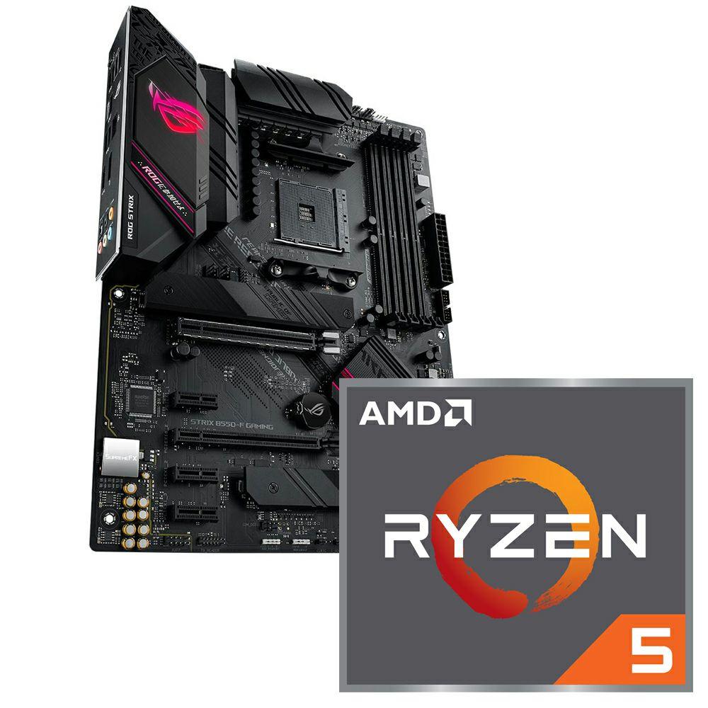Aufrüstkit AMD Ryzen 5 5600X (6 × 3,7 GHz)(Tray) + ASUS ROG Strix B550-F Gaming (Cashback möglich)