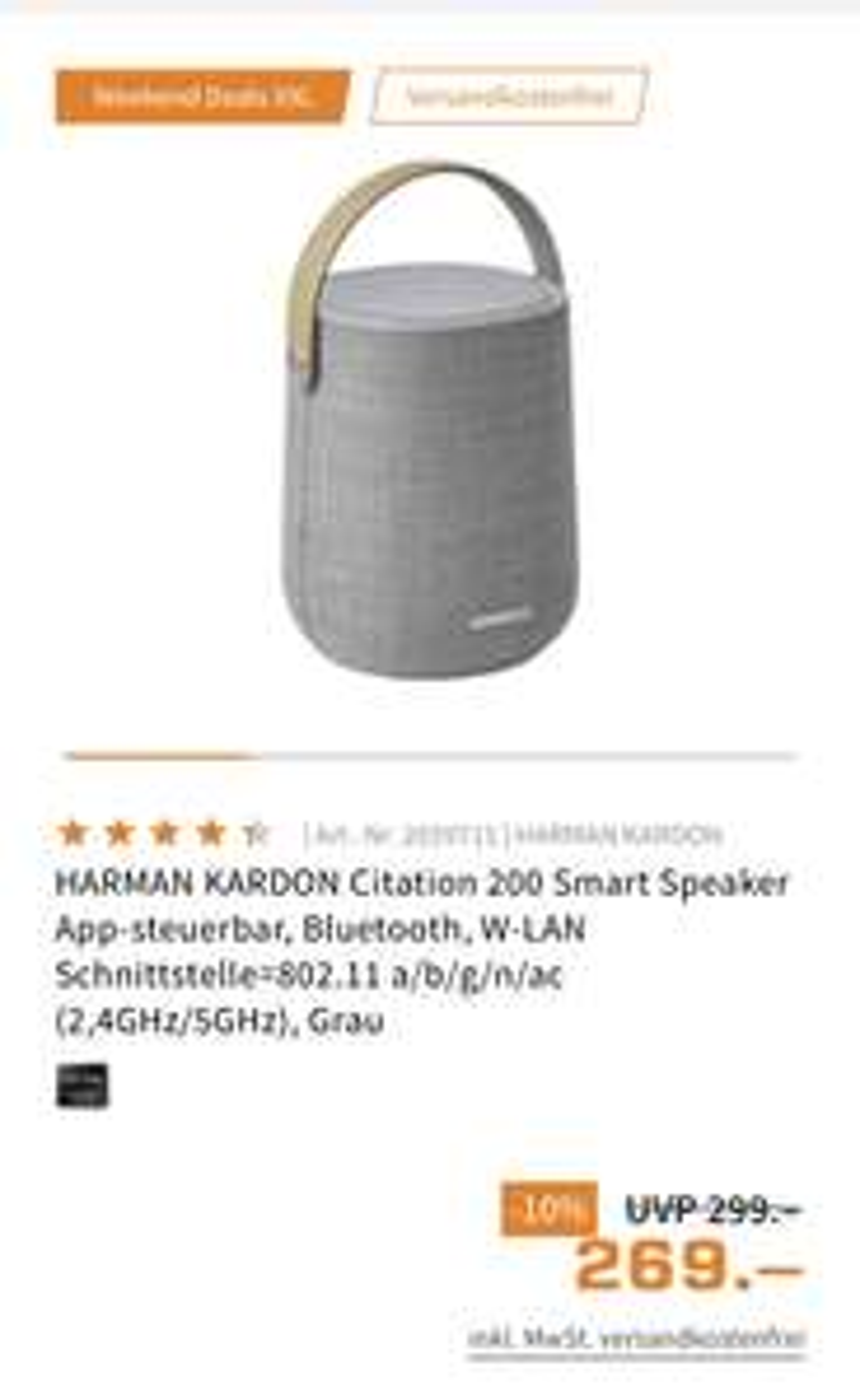 HARMAN KARDON Citation 200 Smart Speaker + 10 fach Payback Punkte