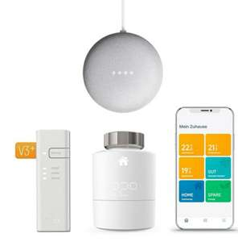 tado° Smartes Heizkörper-Thermostat Starter Kit V3+ + Google Nest Mini + Gutschein 6 Monate Spotify Premium