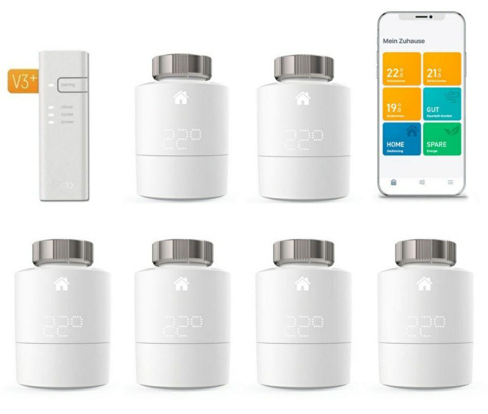 tado° Smartes Heizkörper-Thermostat Starter Kit V3+ mit 6 Thermostaten & Bridge