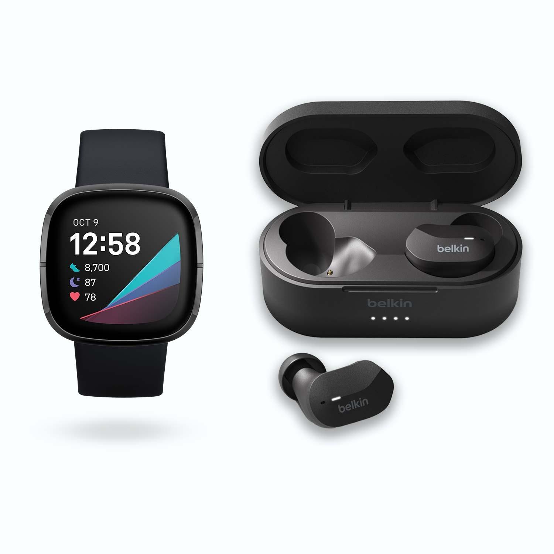 "Fitbit Sense + Belkin SoundForm (1.58"", AMOLED, 336x336, Herzfrequenz, Blutsauerstoff, Stresslevel, GPS, NFC, ~6d Akku, wasserabweisend)"