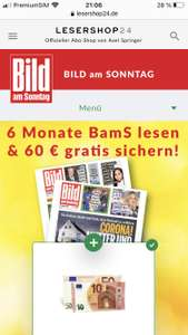 6 Monate BamS für 63,70€ mit 60€ Prämie