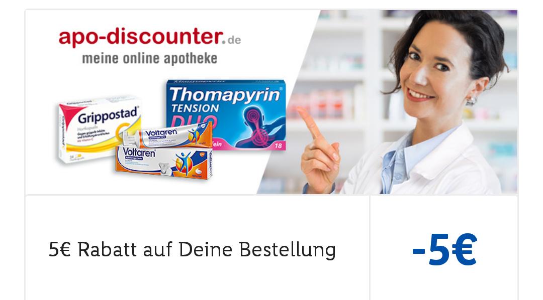 [Lidl App] 5€ Gutschein ( 25€ MBW) für apo-discounter, Gratis Versand ab 15€