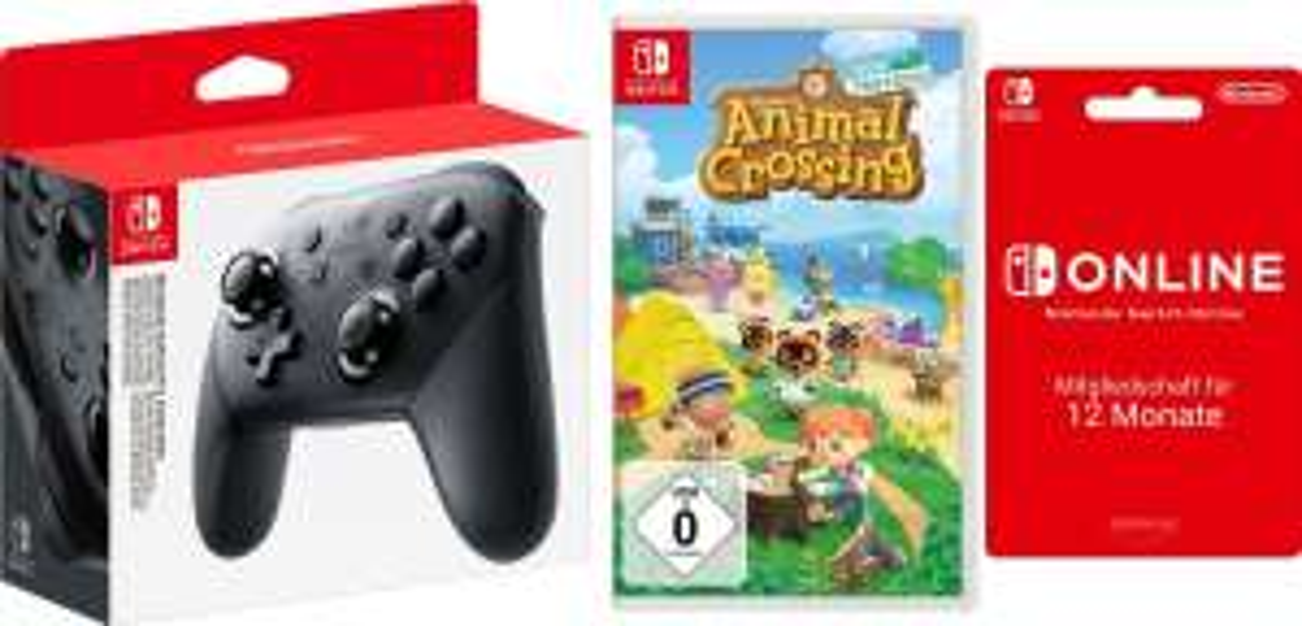 (Quelle&OTTO) Nintendo Switch Pro Controller inkl. Animal Crossing New Horizons & 12 Monate Nintendo Switch Online für 101,55€