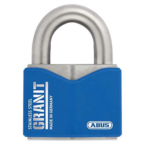ABUS Granit Vorhängeschloss 37ST/55 aus Edelstahl - mit ABUS-Plus Scheibenzylinder - 79185 - Level 10 - Blau/Silber