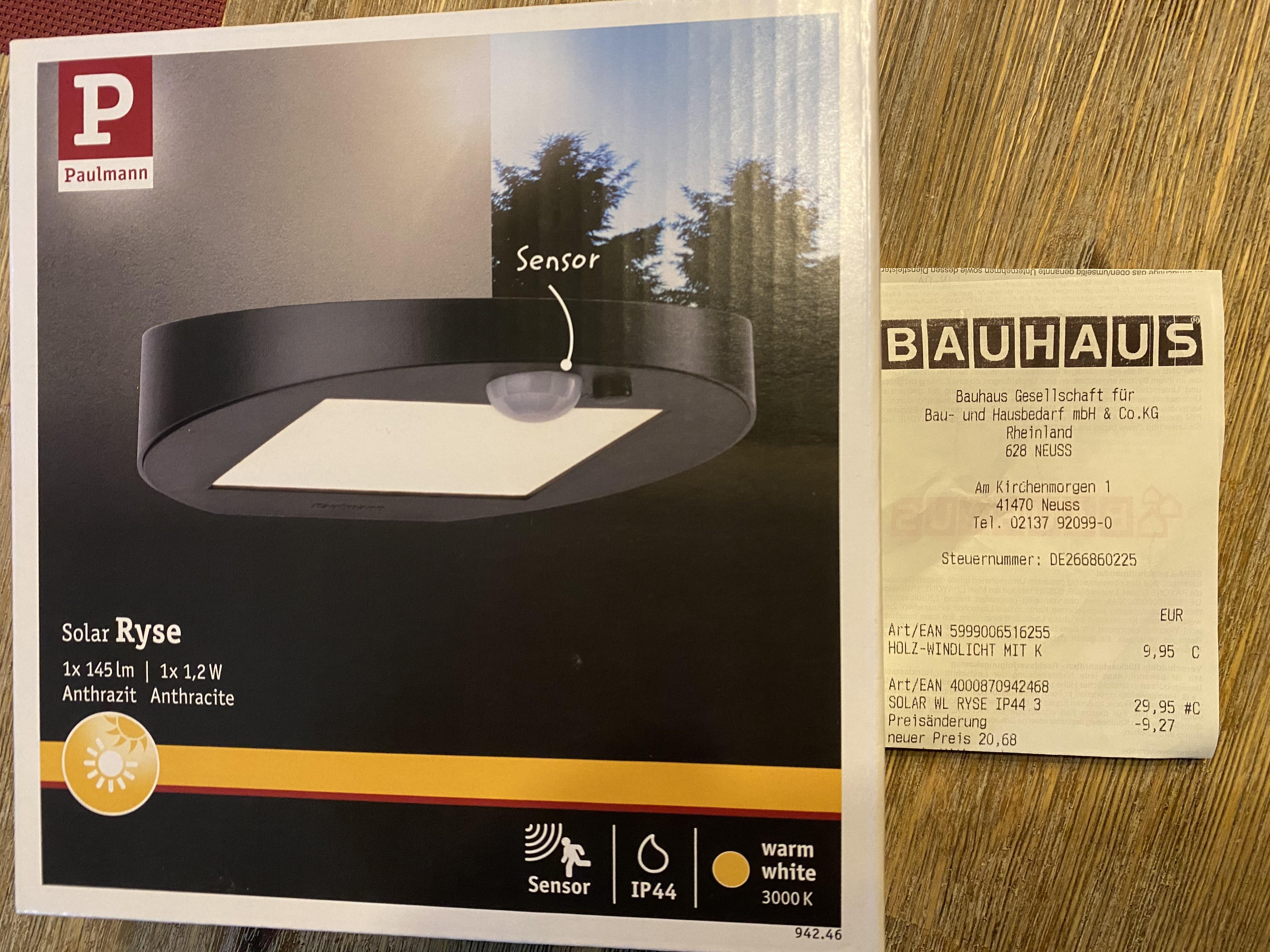 [Bauhaus TPG] Paulmann Solar Ryse Außenbeleuchtung