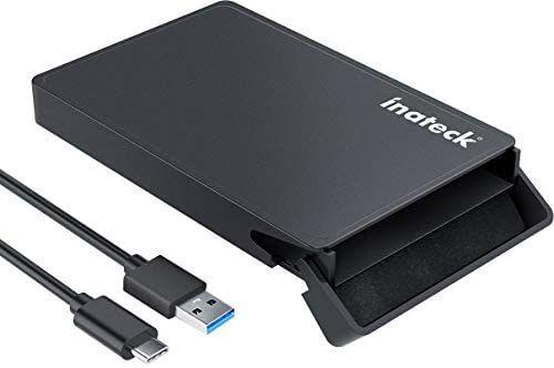 [Amazon Prime] Inateck Festplattengehäuse 2,5 Zoll USB C für 9,5 mm/7 mm 2,5 Zoll HDD/SSD, mit USB C auf USB A Kabel
