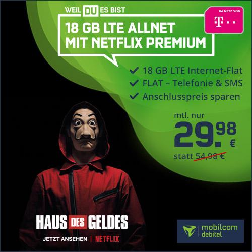 [Telekom-Netz] 18GB green LTE Tarif + Netflix Premium-Abo für mtl. 29,98€ von mobilcom-debitel (Allnet- & SMS-Flat, VoLTE, WLAN Call)