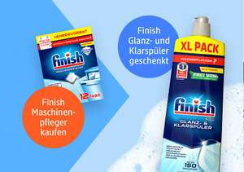 Beim Kauf Finish Maschinenpfleger 12Tabs, Gratis dazu Finish Glanz- und Klarspüler [DM offline & online]