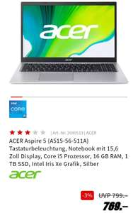 Acer Aspire 5 A515-56-511A / 16 GB RAM / 1 TB SSD / Intel i5 / Solides Home-Office Notebook
