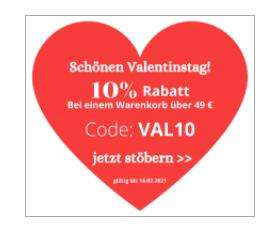 Valentinstagaktion: 10% ab einem Warenwert von 49€ mit CODE: Val10 bei Lichterketten