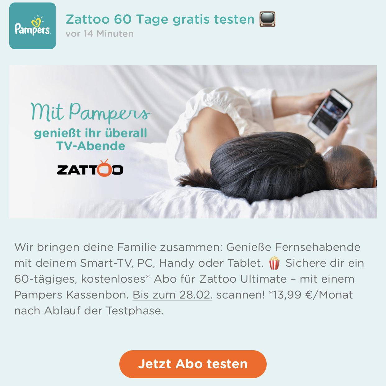 Zattoo Ultimate 2 Monate Gratis (Pampers App)