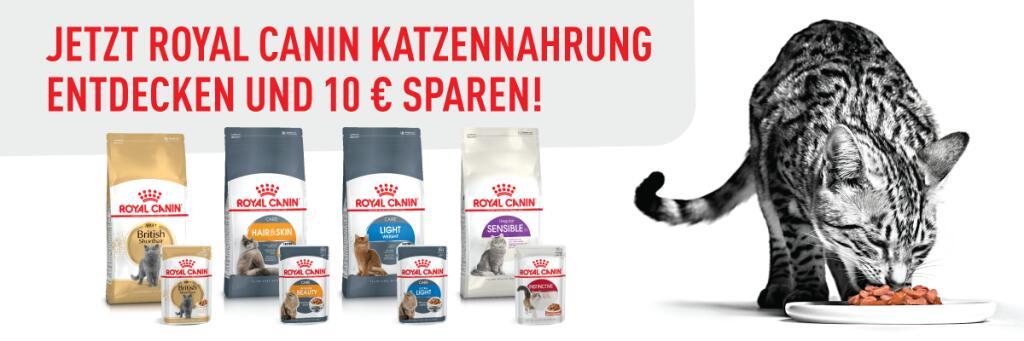 10€ Rabatt beim Kauf eines Royal Canin Trockenfutterprodukts für Katzen (mind. 1,5 kg Gebindegröße)