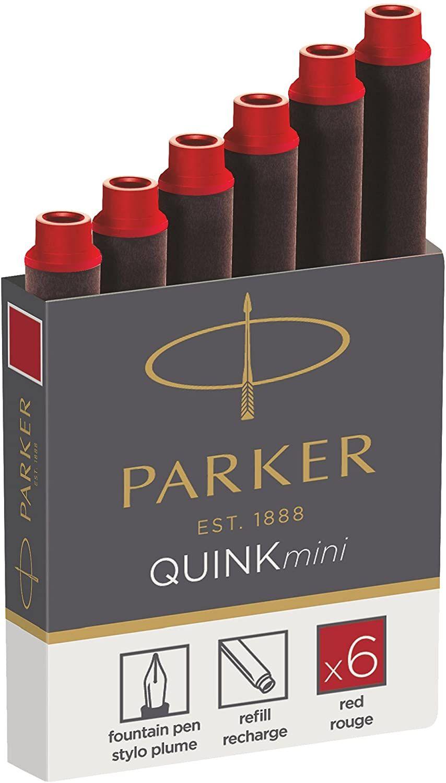 [Amazon Prime] Parker 1950408 Quink Nachfüllpatronen für Füllfederhalter, kurze Patronen, 6er Packung, rote tinte