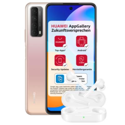 Huawei P Smart (2021) 128GB Gold/Schwarz (nix Google) + Freebuds lite im Blau Allnet XL 7GB LTE für 1€ einmalig und 11,99€ monatlich