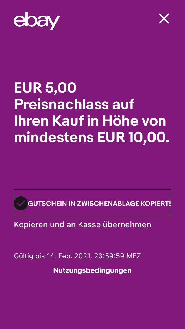 Ebay Gutschein -5€ bei 10€ mbw - personalisiert