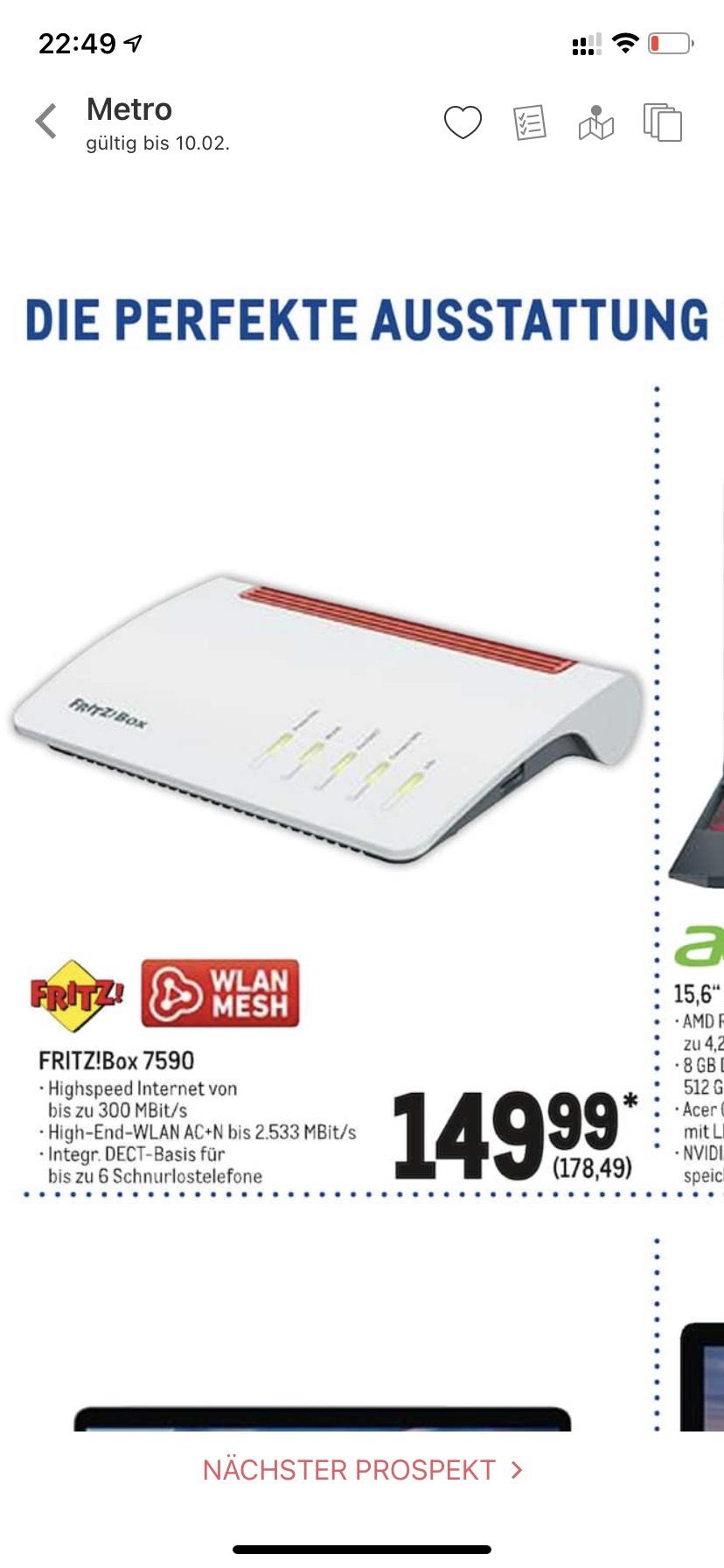 [Metro] AVM Fritz!Box 7590 (nur bis 10.02.) 149.99€ für Gewerbetreibende