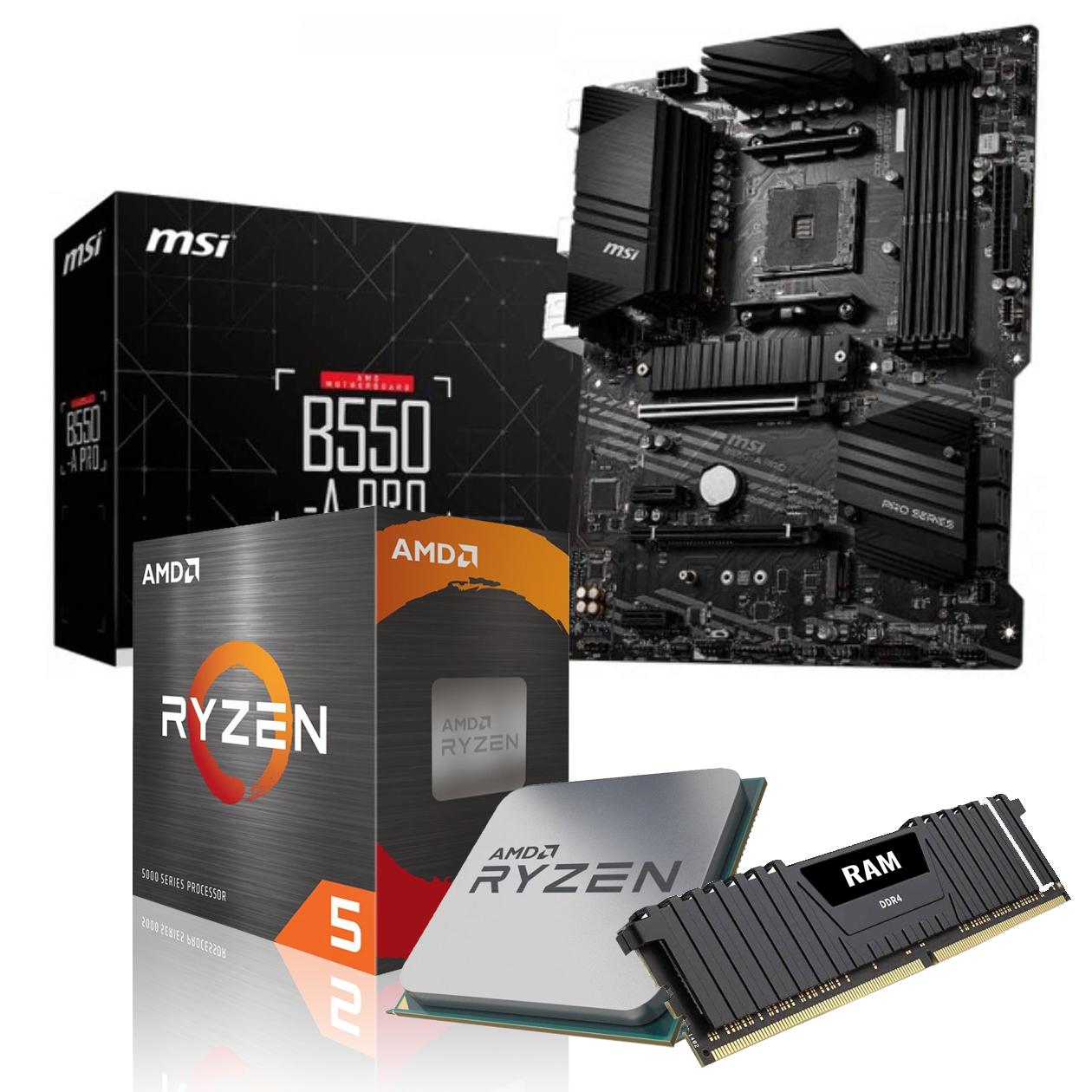 Vormontiertes Aufrüst-Kit: MSI B550-A Pro + AMD Ryzen 5 5600X (inkl. Kühler) + 16GB DDR4-3200 (2x 8GB Dual Channel)