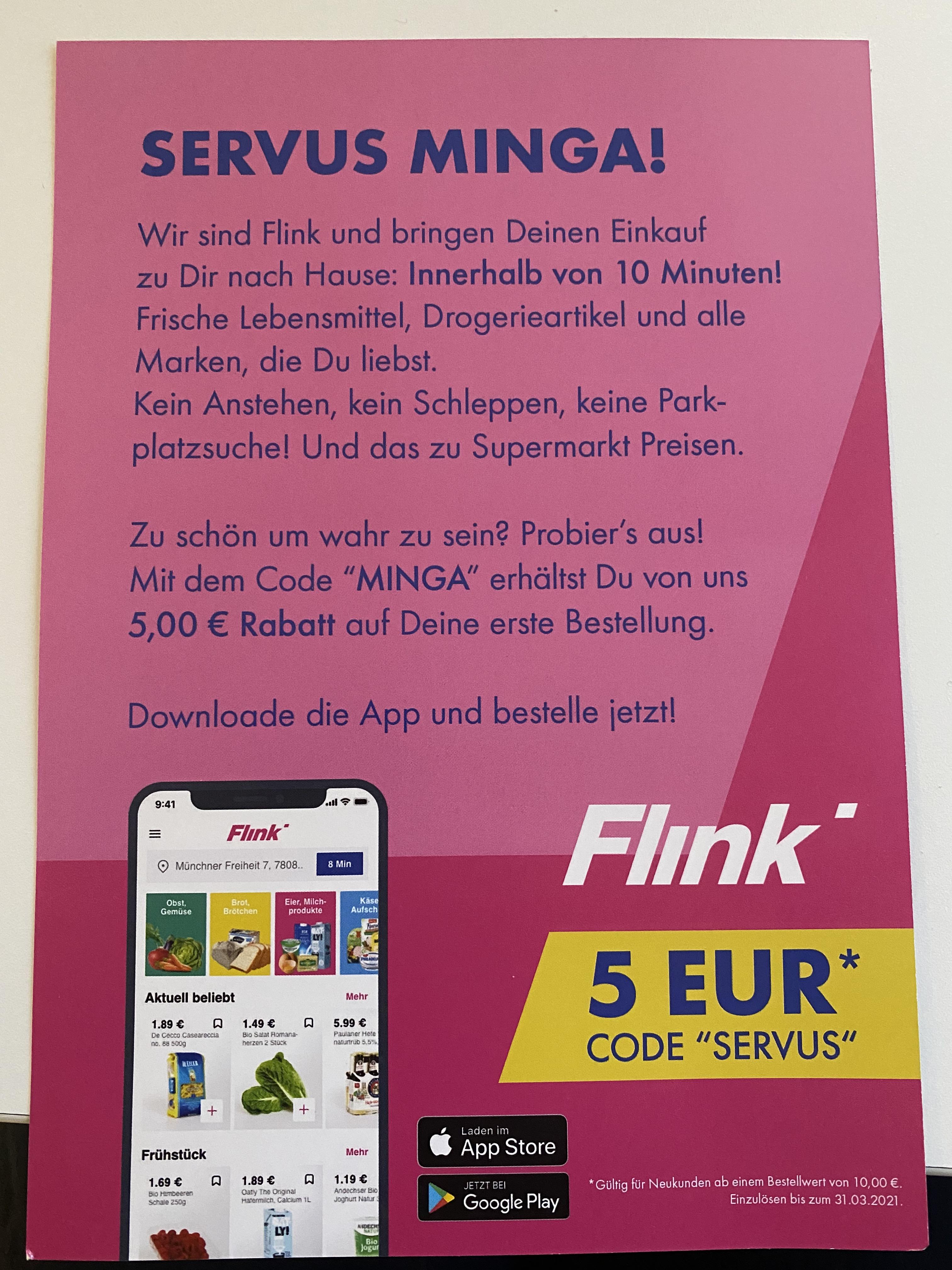 [Lokal München] 5€ Rabatt auf die 1. Bestellung bei Flink (Lieferdienst)