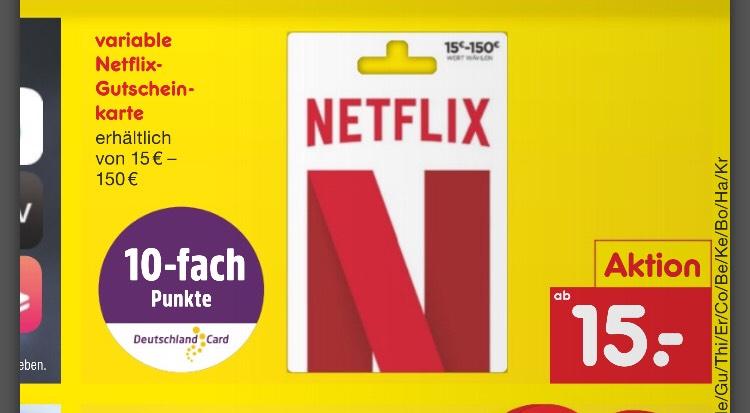 Netflix Gutscheinkarten DeutschlandCard bei Netto 10fach Punkte