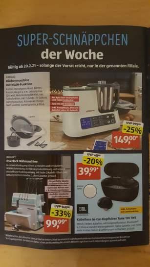 (lokal Aldi-Süd Kolbermoor)JBL In-Ear-Kophörer kabellos Tune 120 TWS 39,99€/Küchenmaschine WLAN 149€/Medion Overlock Nähmaschine 99,99€
