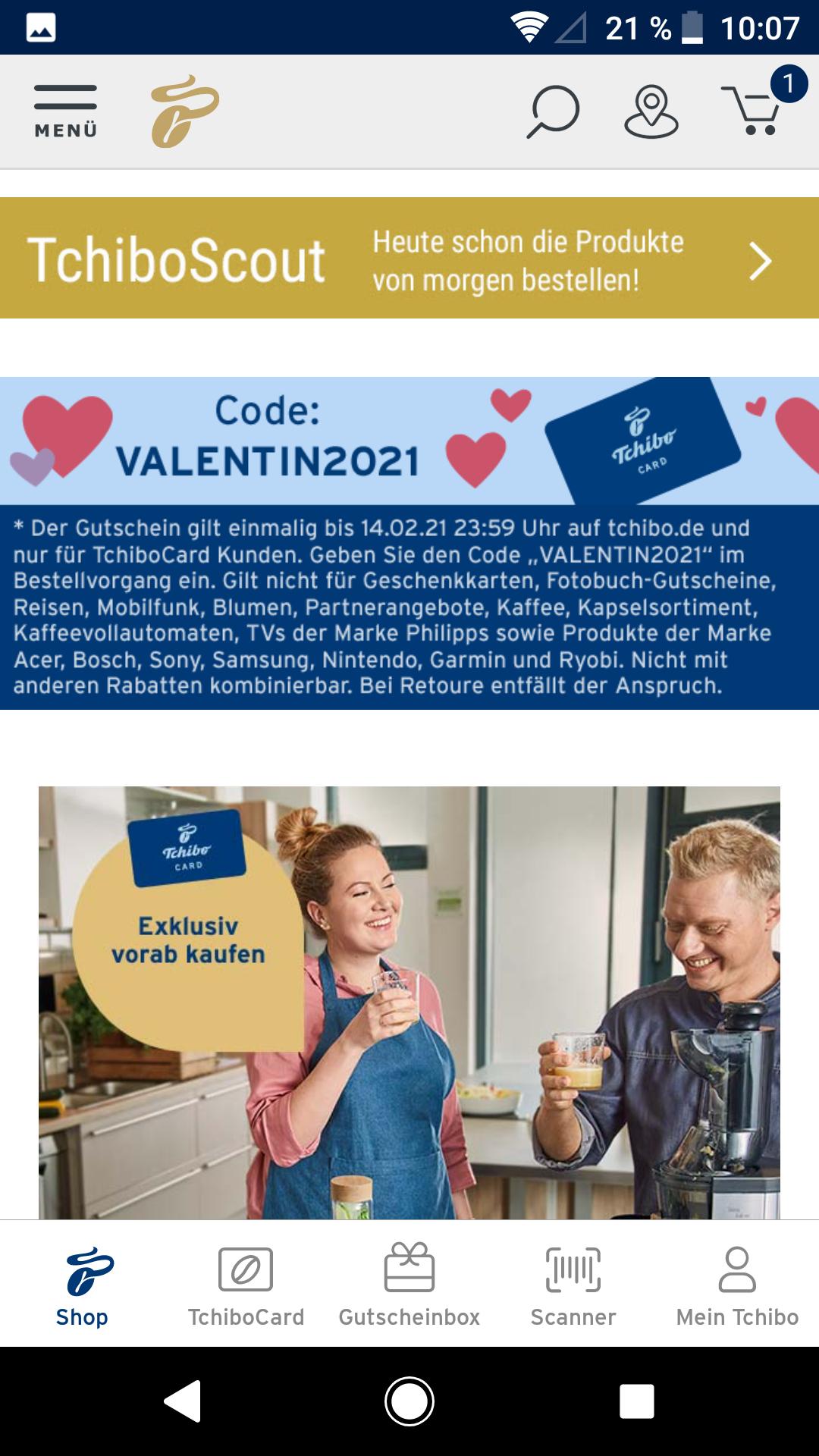 Bis 29% möglich: Tchibo 14% Valentinstag Rabatt mit Einschränkungen kombinierbar mit 15% Rabatt zusätzlich