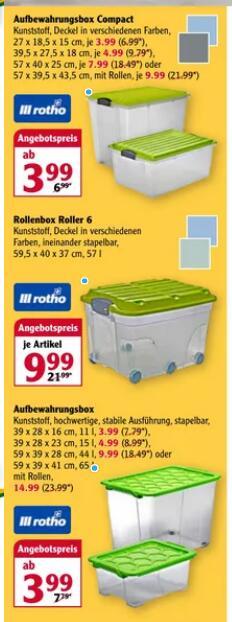 [Globus] Rotho Evo Safe Aufbewahrungsboxen lebensmittelecht zB 15l für 4,99€ PVG 8,99€