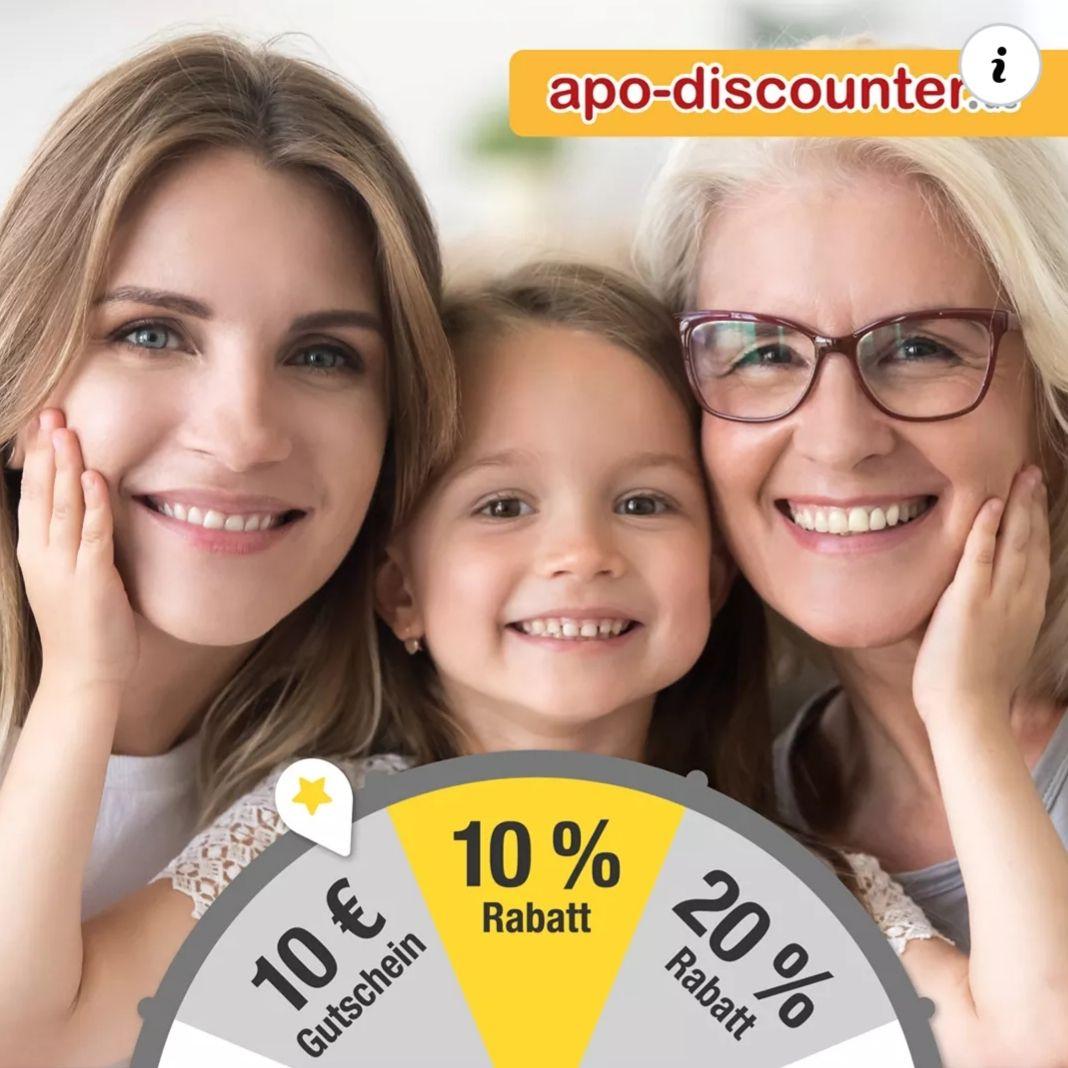 Glücksrad bei Apo-Discounter 10%-20% Rabatt / VSK frei