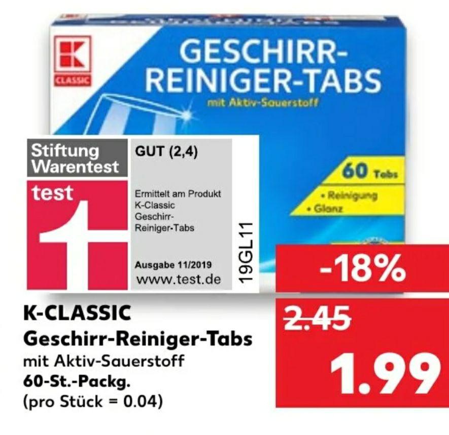 [Kaufland] 60 Geschirr-Reiniger-Tabs K-CLASSIC 0,03€/Tab