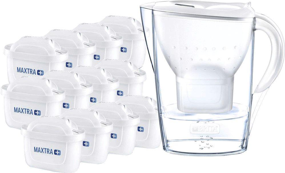 BRITA Wasserfilter Marella weiß inkl. 12 MAXTRA+ Filterkartuschen JAHRESPAKET