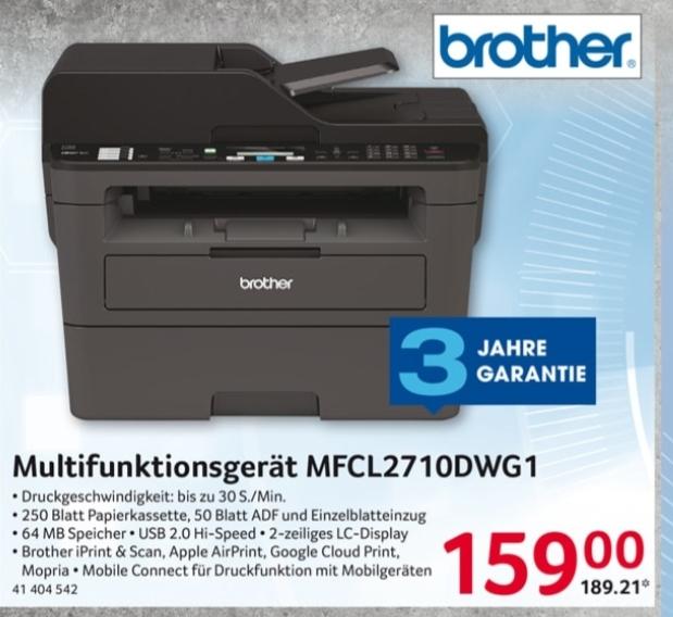 Brother MFC-L2710DWG1 bei Selgros Monolaserdrucker (159€ netto)