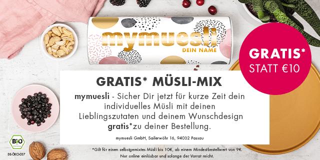 mymuesli - GRATIS Müsli-Mix zu jeder Bestellung sichern