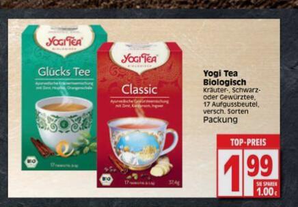 [lokal: Edeka Minden-Hannover] Yogi Tea (Bio) versch. Sorten