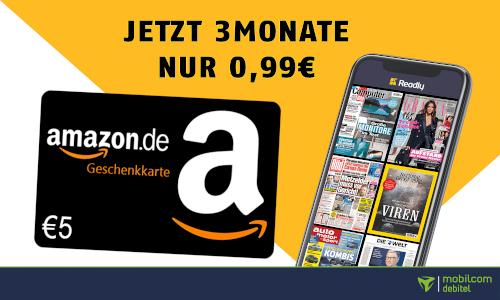 Readly 3 Monate für einmalig 99 Cent plus 5€ Amazon Gutschein