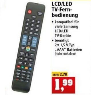 TV-Fernbedienung Samsung kompatibel