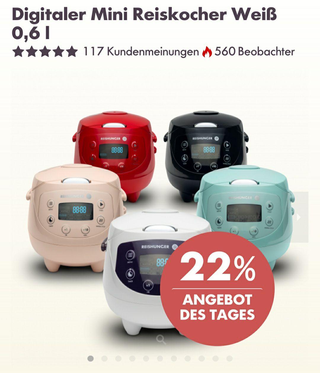 Reishunger Digitaler Mini Reiskocher 0,6L in weiß