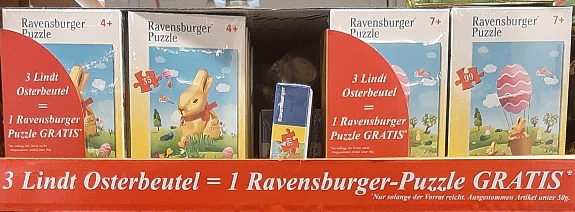 [Diverse Supermärkte Bundesweit] Lindt Osteraktion - 3 Osterbeutel kaufen & 1 Ravensburger Puzzle Gratis erhalten