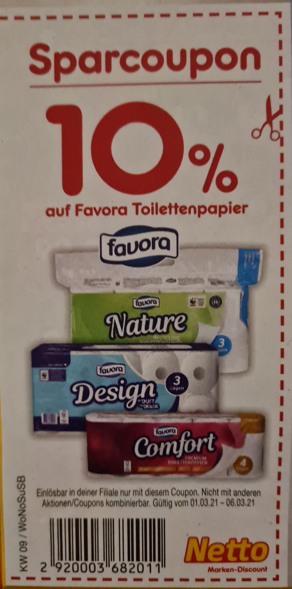 10% auf alle Favora Toilettenpapier ab 01.03 Netto