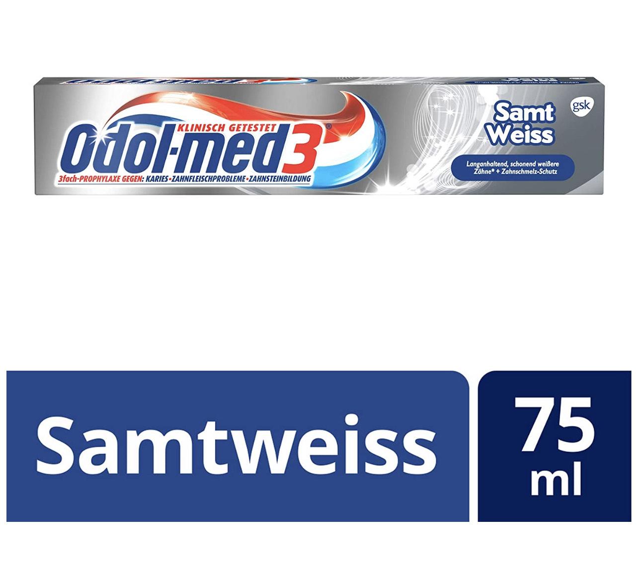 (Prime) 5x Odol-med3 Samtweiss Zahnpasta
