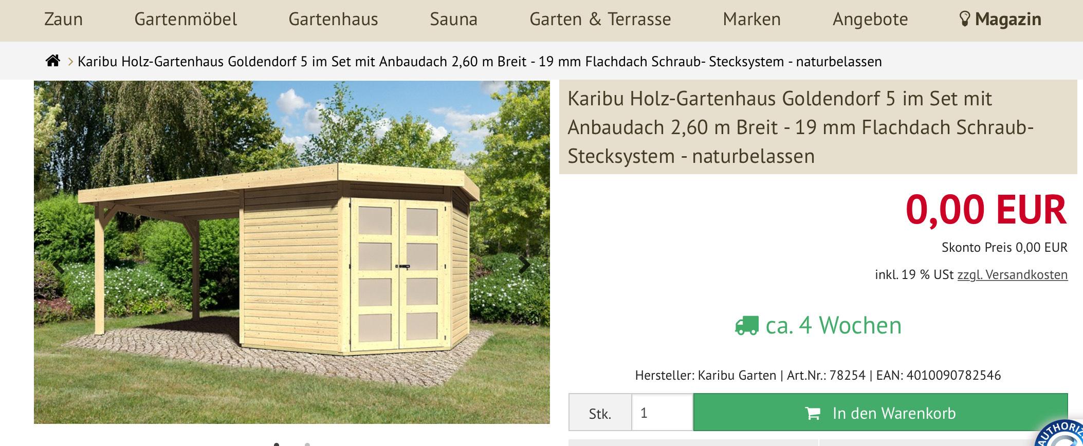 Gartenhaus 0€ +zusätzlich 99€ Versand