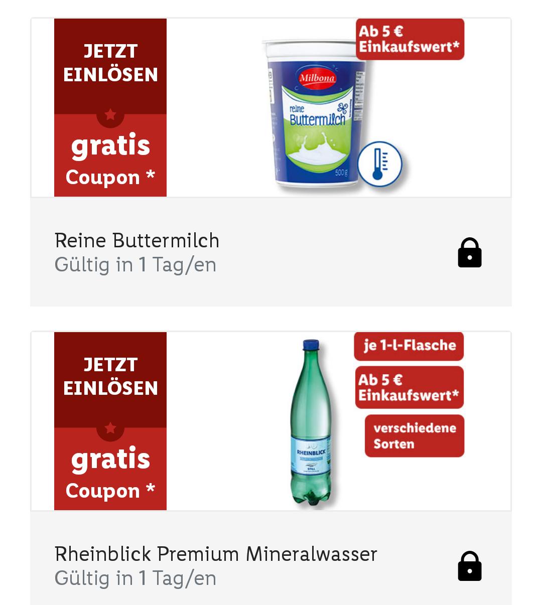 [ Lidl plus App] Gratis Buttermilch und 1l Premium Mineralwasser ab 5€ Einkauf