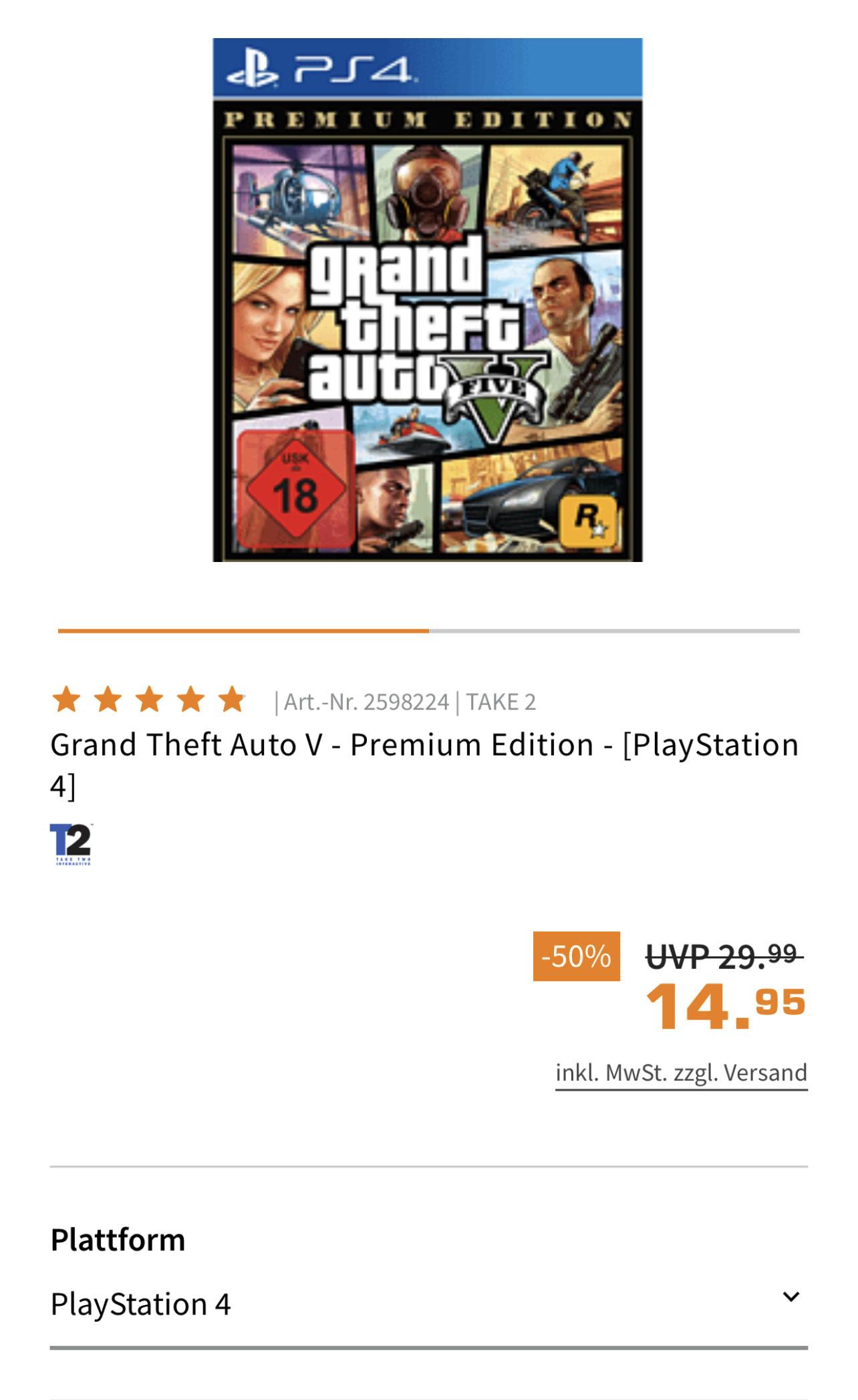 GTA Grand Theft Auto V Premium Edition PS4 Spiel