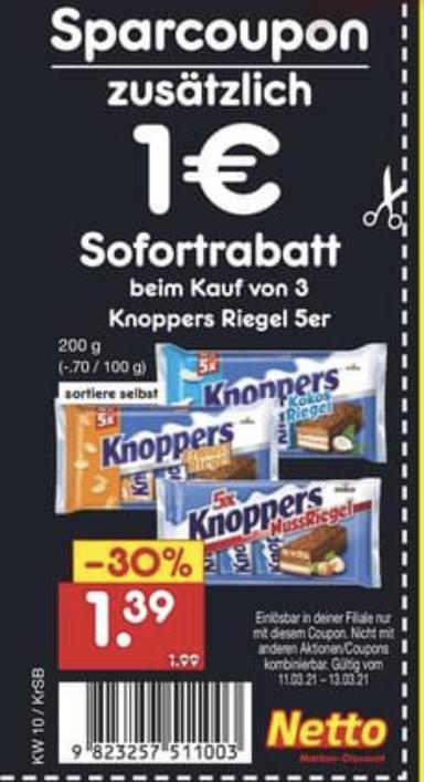 (Netto MD) 3 Packungen Knoppers Riegel kaufen, 1€ Rabatt erhalten