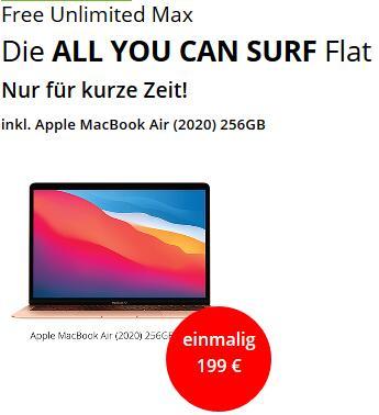 """Apple MacBook Air 13"""" 2020 M1 MGND3D/A 256GB im Telefonica Free Unlimited Max Datenflat bis 225Mbit/s für 199€ einmalig, 49,99€ monatlich"""