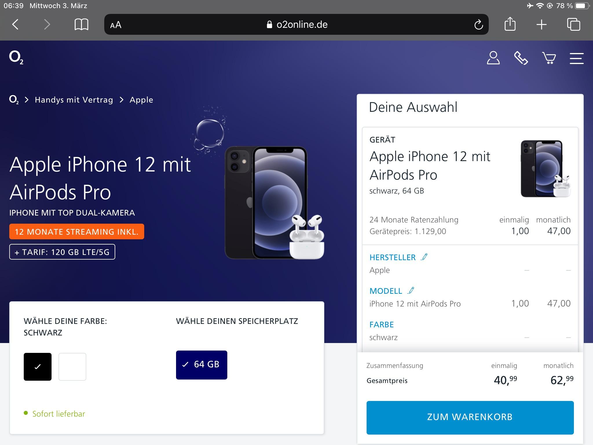 iPhone 12 + AirPods Pro + 1 Jahr Streaming ( Netflix, Sky oder O2 TV) für effektive 64,69€ im Monat.