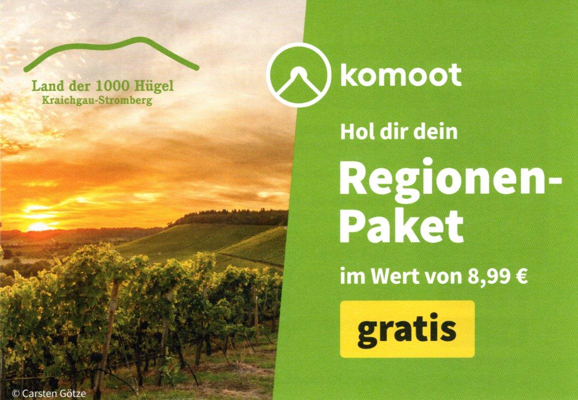 """Komoot Kostenloses Regionenpaket """"Südlicher Neckar"""" per Post (Region frei wählbar)"""