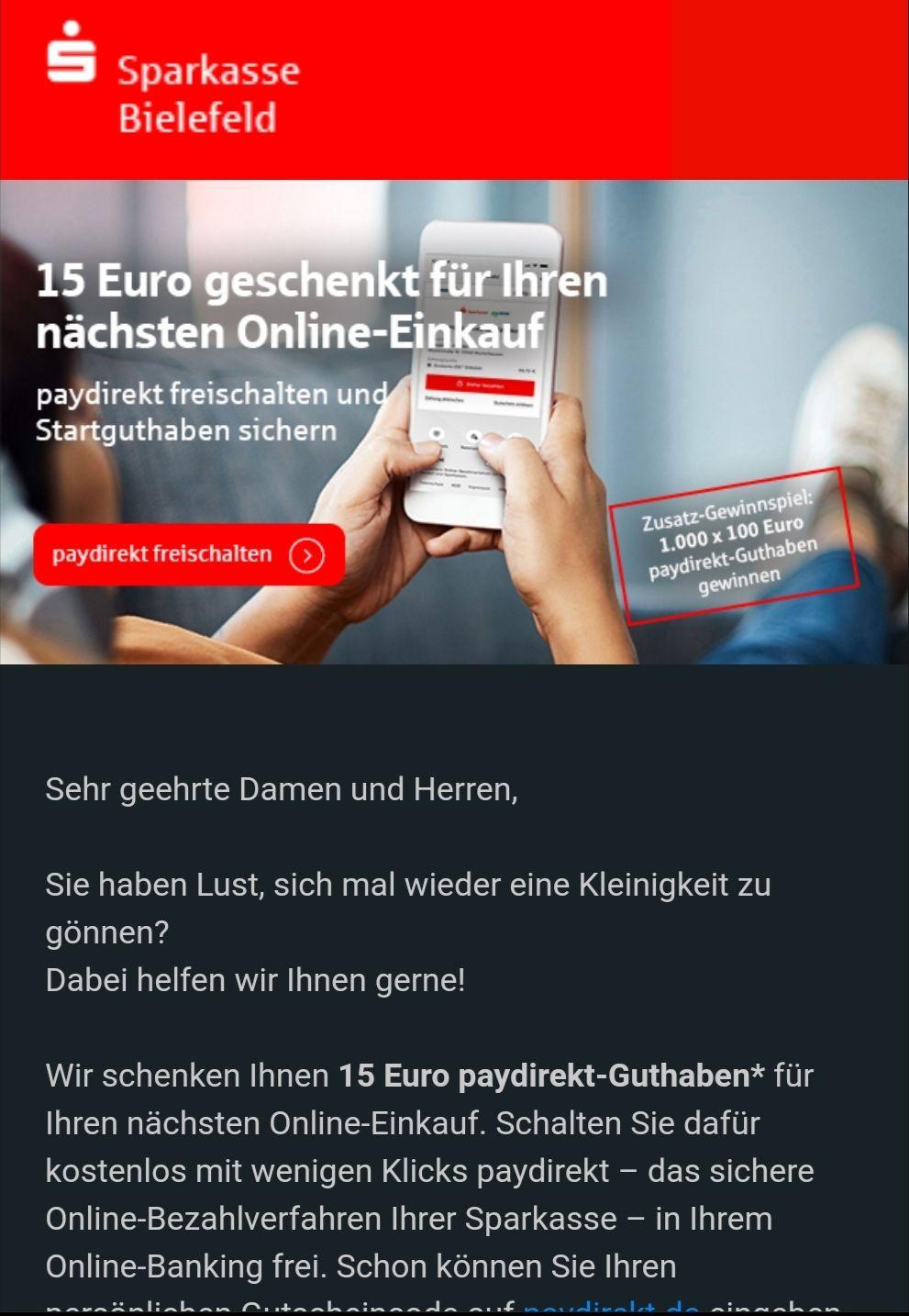 Paydirekt 15€ Startguthaben für Sparkasse Kunden (personalisiert)