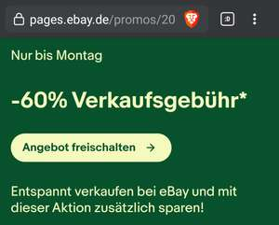eBay -60% bis -30% Verkaufsgebühr (eingeladene Verkäufer)